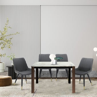 โต๊ะทานอาหาร โต๊ะอาหารขาไม้ท๊อปหิน รุ่น Hintey-SB Design Square
