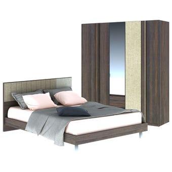ชุดห้องนอน ขนาด 5 ฟุต รุ่น Econi สีเข้มลายไม้ธรรมชาติ