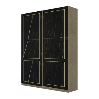 Wardrobe Prime ตู้เสื้อผ้าบานเลื่อน รุ่น Wardrobe Prime สีสีดำ-SB Design Square