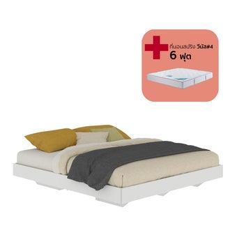 เตียงนอน ขนาด 6 ฟุต รุ่น Blissey สีขาว พร้อมที่นอน 6 ฟุต-00