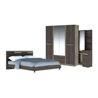 ชุดห้องนอน ชุดห้องนอนขนาด 6 ฟุต รุ่น Ricchi สีสีเข้มลายไม้ธรรมชาติ-SB Design Square