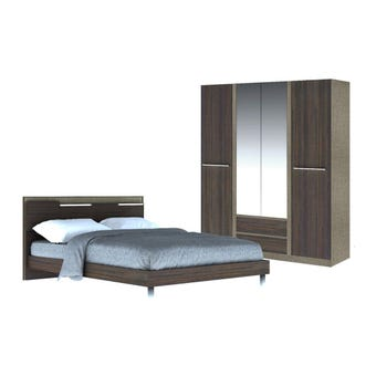 ชุดห้องนอน ชุดห้องนอนขนาด 5 ฟุต รุ่น Ricchi สีสีเข้มลายไม้ธรรมชาติ-SB Design Square
