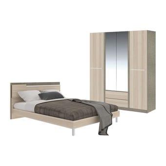 ชุดห้องนอน ชุดห้องนอนขนาด 6 ฟุต รุ่น Ricchi สีสีโอ๊คอ่อน-SB Design Square
