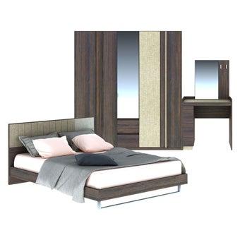 ชุดห้องนอน ขนาด 6 ฟุต รุ่น Econi สีเข้มลายไม้ธรรมชาติ-00