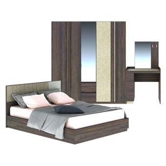 ชุดห้องนอน ขนาด 6 ฟุต รุ่น Econi สีเข้มลายไม้ธรรมชาติ