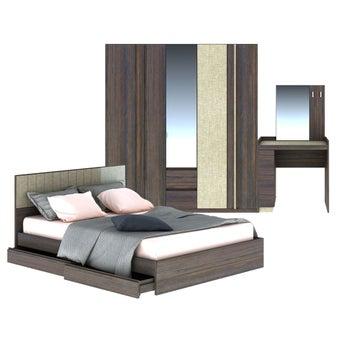 ชุดห้องนอน ขนาด 5 ฟุต รุ่น Econi สีเข้มลายไม้ธรรมชาติ-00