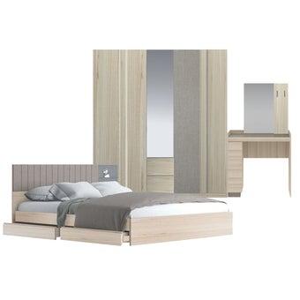ชุดห้องนอน ขนาด 5 ฟุต รุ่น Econi สีโอ๊คอ่อน-00
