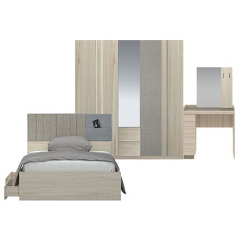ชุดห้องนอน ขนาด 3.5 ฟุต รุ่น Econi สีโอ๊คอ่อน-00