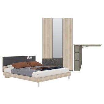 ชุดห้องนอน ขนาด 5 ฟุต รุ่น Minimo สีโอ๊คอ่อน-00