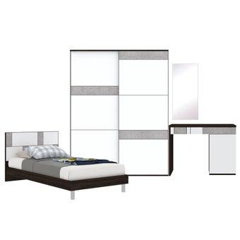 ชุดห้องนอน ขนาด 3.5 ฟุต รุ่น Palazzo สีเข้มลายไม้ธรรมชาติ-00