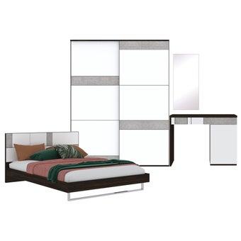 ชุดห้องนอน ขนาด 5 ฟุต รุ่น Palazzo สีเข้มลายไม้ธรรมชาติ-00