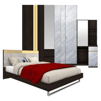 ชุดห้องนอน ขนาด 6 ฟุต รุ่น Reiss สีเทาอ่อน