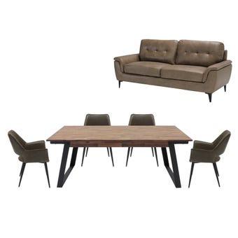 ชุดโต๊ะอาหาร รุ่น Fina & เก้าอี้ Yonest & โซฟา Morniya