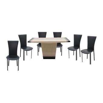 โต๊ะทานอาหาร โต๊ะอาหารหินล้วน รุ่น Famira สีสีน้ำตาล-SB Design Square
