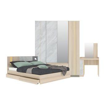 ชุดห้องนอน ชุดห้องนอนขนาด 5 ฟุต รุ่น Marmurus สีสีโอ๊คอ่อน-SB Design Square
