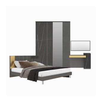 ชุดห้องนอน ชุดห้องนอนขนาด 6 ฟุต รุ่น Luxus สีสีเทา-SB Design Square