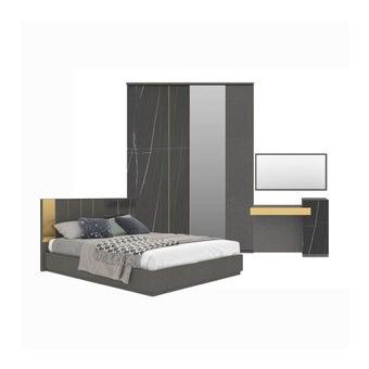 ชุดห้องนอน ชุดห้องนอนขนาด 5 ฟุต รุ่น Luxus สีสีเทา-SB Design Square