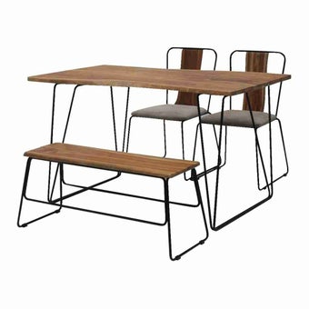 โต๊ะทานอาหาร โต๊ะอาหารขาเหล็กท๊อปไม้ รุ่น Fer สีสีลายไม้ธรรมชาติ-SB Design Square