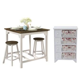 ชุดโต๊ะอาหาร รุ่น Croissant & สตูล ST35 & ตู้เตี้ยลิ้นชัก HY20-01
