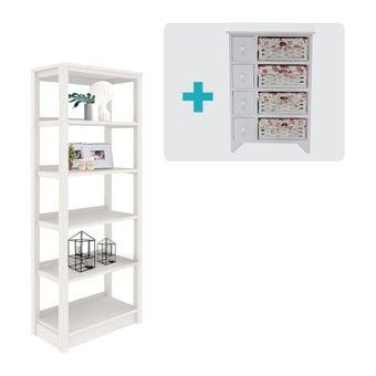 ห้องรับแขก ชุดตู้เก็บของหนังสือ รุ่น Marietta สีสีขาว-SB Design Square