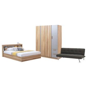 ชุดห้องนอน ขนาด 6 ฟุต รุ่น Moritz ตู้บานเปิด 160 สีโอ๊ค-02
