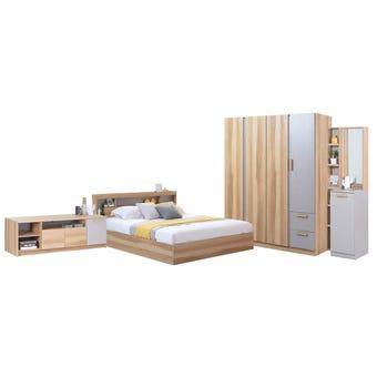 ชุดห้องนอน ขนาด 6 ฟุต รุ่น Moritz ตู้160 ชั้นวางทีวี สีโอ๊ค