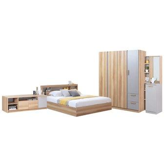 ชุดห้องนอน ขนาด 6 ฟุต รุ่น Moritz ตู้160 ชั้นวางทีวี สีโอ๊ค-01