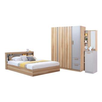 ชุดห้องนอน ขนาด 6 ฟุต รุ่น Moritz พร้อมที่นอน ตู้160 สีโอ๊ค
