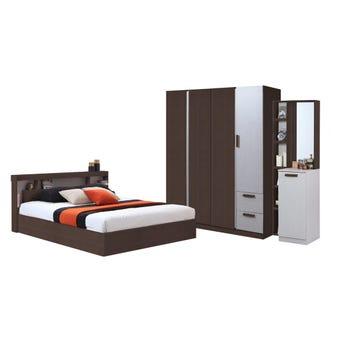 ชุดห้องนอน ขนาด 6 ฟุต รุ่น Moritz พร้อมที่นอน ตู้160 สีไม้เข้ม