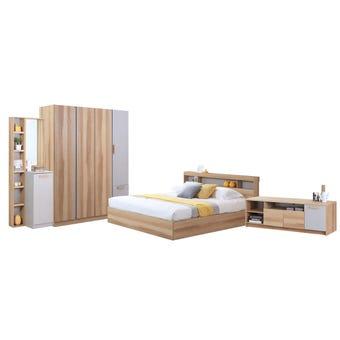 ชุดห้องนอน ขนาด 6 ฟุต รุ่น Moritz ตู้160 ที่นอน ชั้นวางทีวี สีโอ๊ค