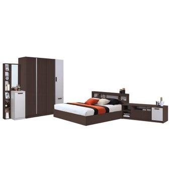 ชุดห้องนอน ขนาด 6 ฟุต รุ่น Moritz ตู้160 ที่นอน ชั้นวางทีวี สีไม้เข้ม