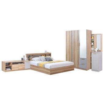 ชุดห้องนอน ขนาด 6 ฟุต รุ่น Moritz ตู้134 ชั้นวางทีวี สีโอ๊ค-00