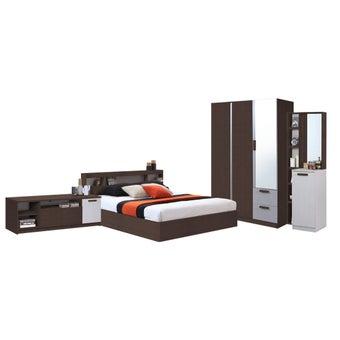 ชุดห้องนอน ขนาด 5 ฟุต รุ่น Moritz ตู้134 ชั้นวางทีวี สีไม้เข้ม-00