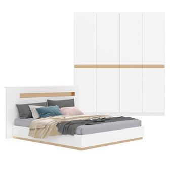 ชุดห้องนอน ขนาด 6 ฟุต รุ่น Luminus สีขาว