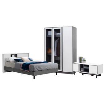 ชุดห้องนอน ขนาด 5 ฟุต รุ่น Paris ตู้บานเปิด 134 ซม. Free TV120 Benesia