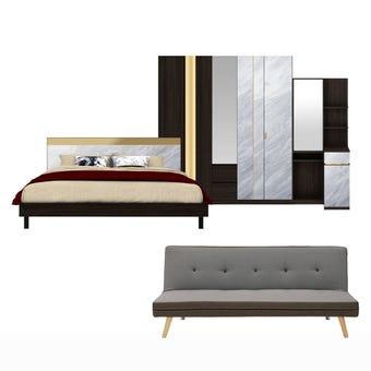 ชุดห้องนอน ขนาด 5 ฟุต รุ่น Reiss สีเข้มลายไม้ธรรมชาติ