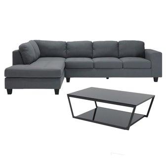 โซฟาผ้าเข้ามุมซ้าย Lola#2 สีเทา & โต๊ะกลาง Jackson#201