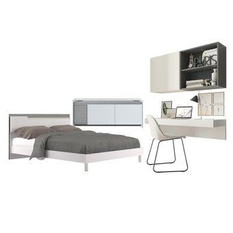 ชุดห้องนอน Ricchi + ชุดโต๊ะทำงาน Infinity + ชั้นวางทีวี Econi-01