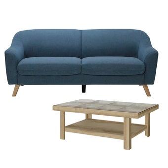 โซฟาผ้า 3 ที่นั่ง Cambell สีฟ้า & โต๊ะกลาง รุ่น Adorn#2