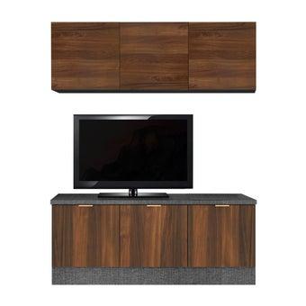ชุดวางทีวีและตู้โชว์ รุ่น Contini 120 ซม. สีไม้เข้ม
