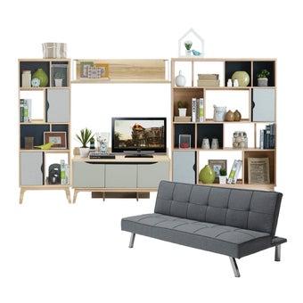 ชุดวางทีวีและตู้โชว์ รุ่น Backus สีโอ๊ค-00