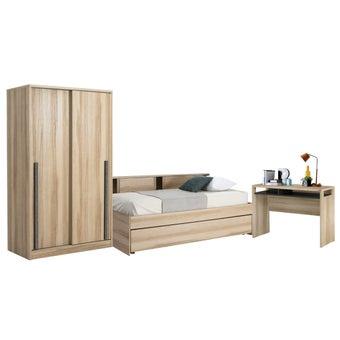 ชุดห้องนอน ขนาด 3.5 ฟุต รุ่น Log สีโอ๊ค