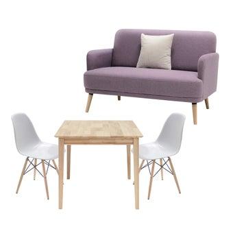 โซฟา รุ่น Amter สีม่วง & โต๊ะอาหาร Peeler & เก้าอี้ Soto