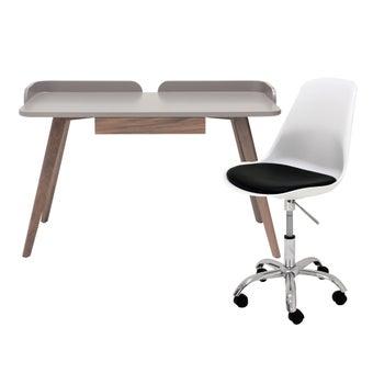 โต๊ะทำงาน รุ่น Alano สีลายไม้ธรรมชาติ & เก้าอี้สำนักงาน รุ่น Snovy