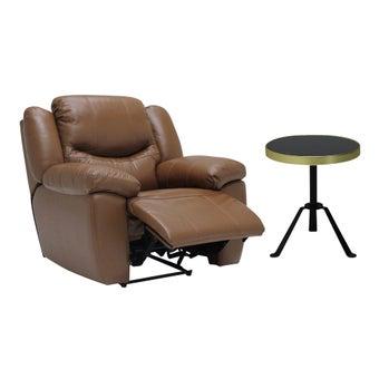 เก้าอี้พักผ่อนปรับระดับไฟฟ้า รุ่น 1 ที่นั่ง Mika สีน้ำตาล & โต๊ะข้าง รุ่น Annew