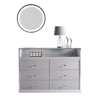 ตู้เก็บของ รุ่น Gems สีครีม Storage Furniture Gems & กระจก LED รุ่น LA337A-00