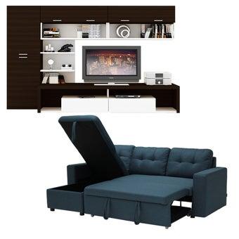โซฟาเข้ามุม รุ่น Sonya#2 สีฟ้า & ชุดโฮมเอ็นเตอร์เทนเมน Maximus TV240  สีเวงเก้ตัดขาว