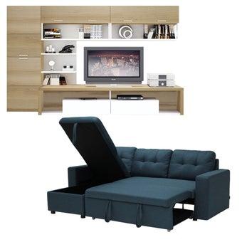 โซฟาเข้ามุม รุ่น Sonya#2 สีฟ้า & ชุดโฮมเอ็นเตอร์เทนเมน Maximus TV240 สีลินด์เบิร์กโอ๊คตัดขาว