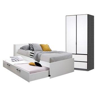 ชุดห้องนอน ขนาด 3.5 ฟุต รุ่น Studeo ตู้บานเปิด 90 ซม. สีขาว-00