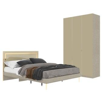 ชุดห้องนอน ขนาด 5 ฟุต รุ่น Master สีน้ำตาลอ่อน (NO LED)